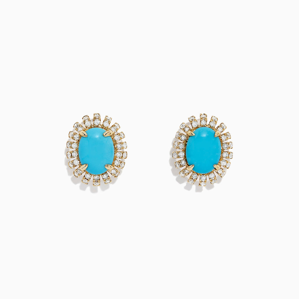Effy 14K Yellow Gold Turquoise and Diamond Earrings, 2.03 TCW