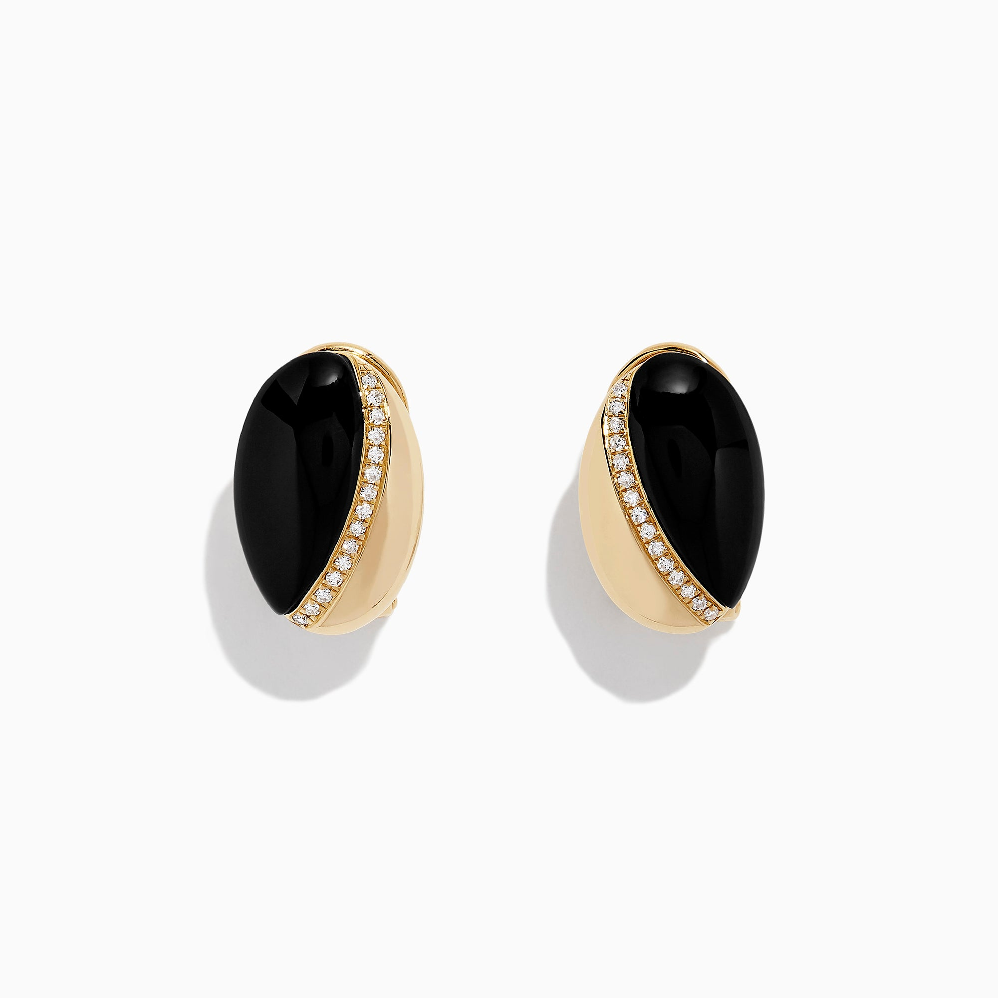 Effy Eclipse 14K Yellow Gold Onyx and Diamond Earrings, 4.61 TCW