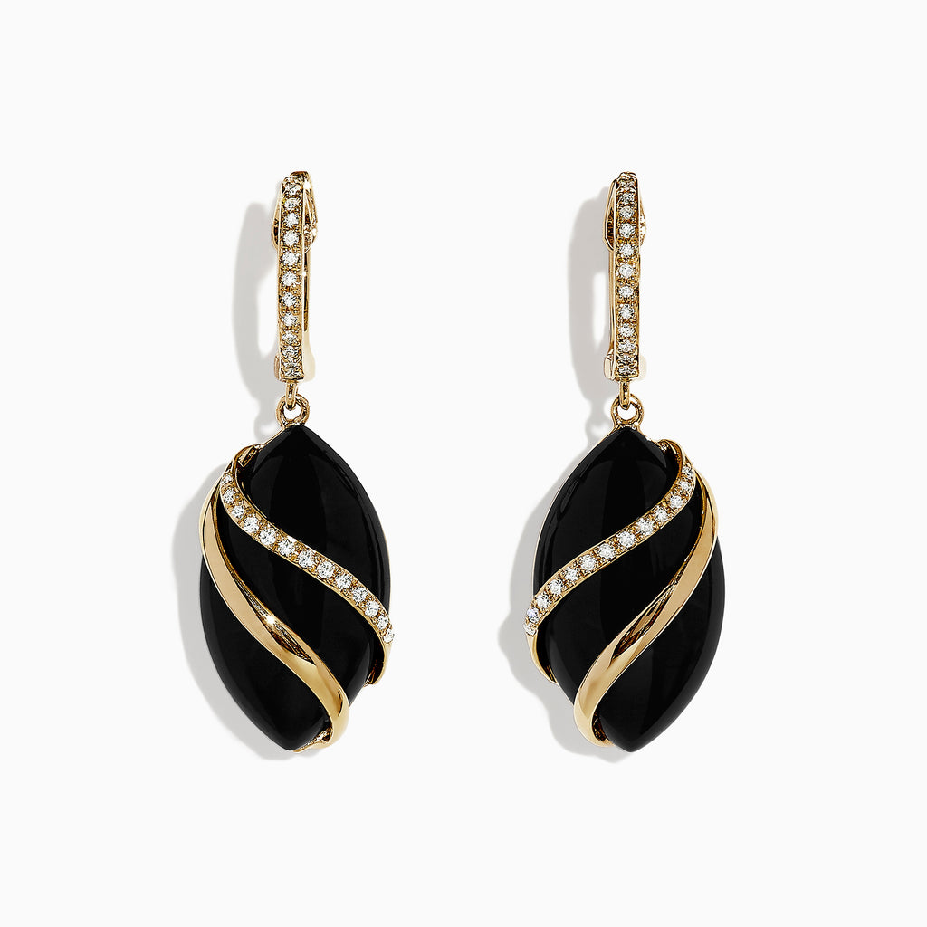 Effy Eclipse 14K Yellow Gold Onyx and Diamond Drop Earrings, 11.53 TCW