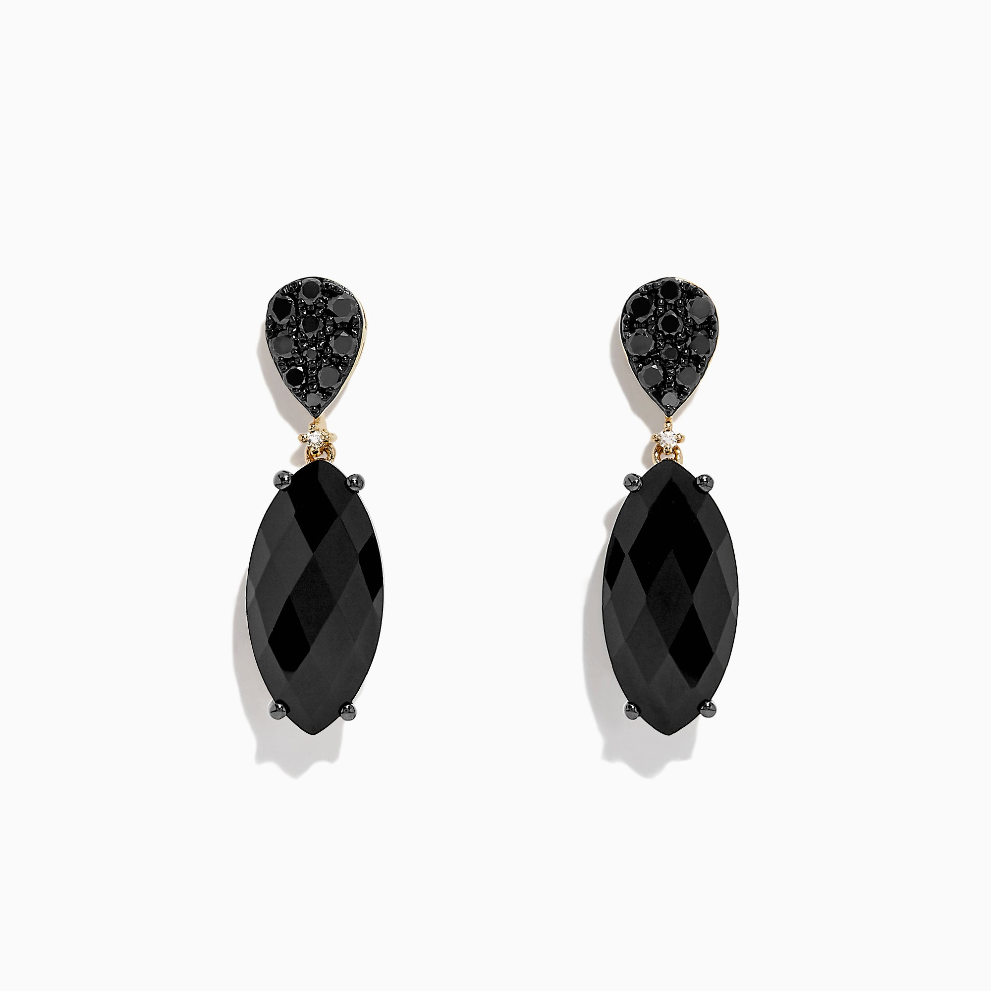 Effy Eclipse 14K Yellow Gold Onyx and Diamond Earrings, 6.38 TCW