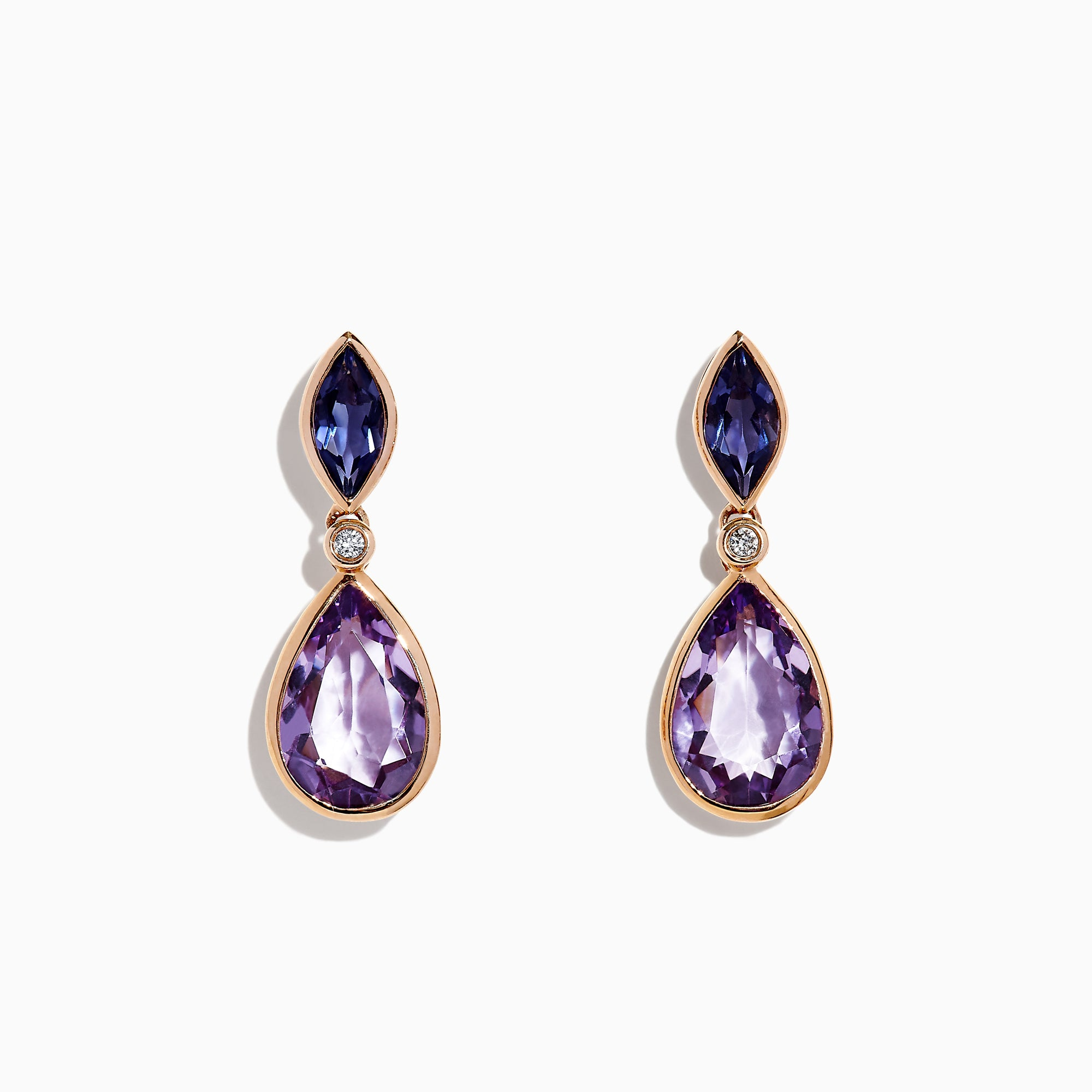 Effy 14K Rose Gold Amethyst, Iolite and Diamond Earrings, 6.09 TCW