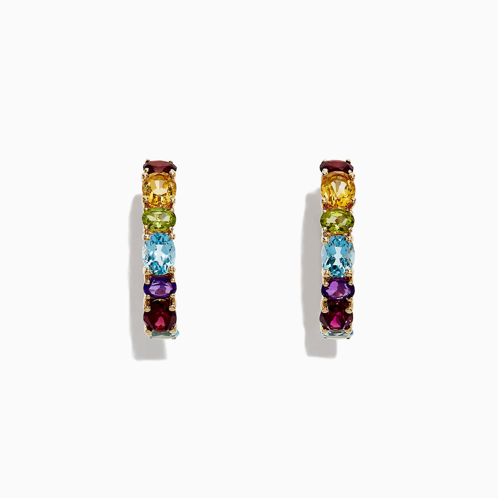 Effy Mosaic 14K Yellow Gold Multi Gemstone Hoop Earrings, 4.05 TCW