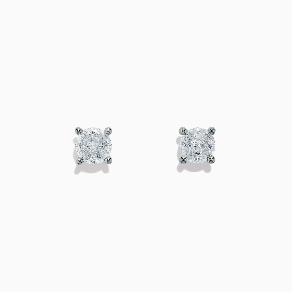 Effy Bouquet 14K White Gold Diamond Stud Earrings, 0.98 TCW