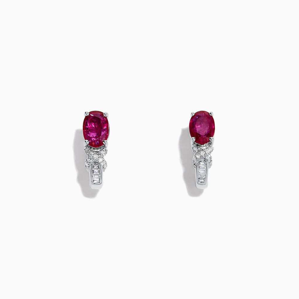 Effy Ruby Royale 14K White Gold Ruby and Diamond Earrings, 2.03 TCW