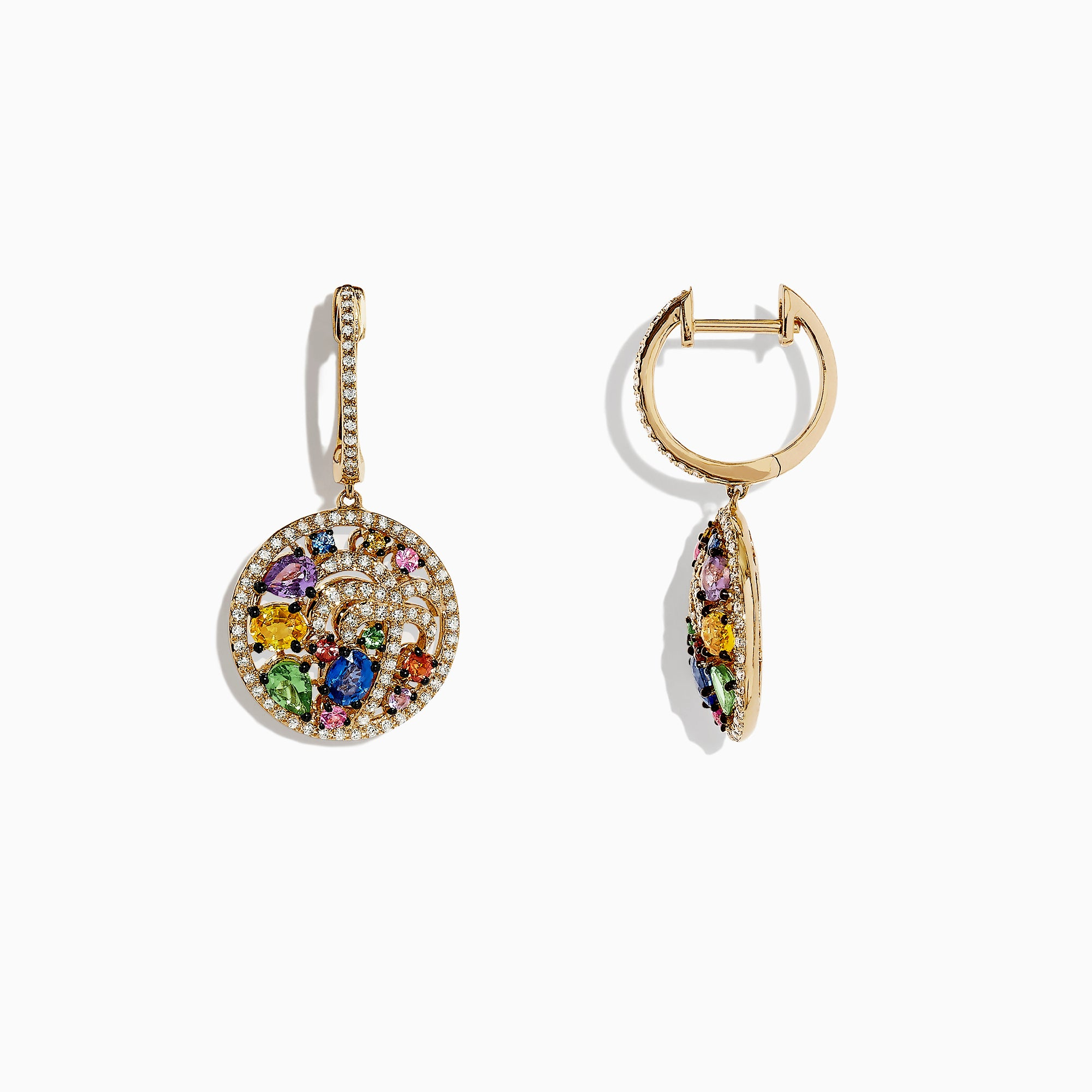 Effy Watercolors 14K Yellow Gold Multi Sapphire and Diamond Palm Tree Earrings, 2.58 TCW