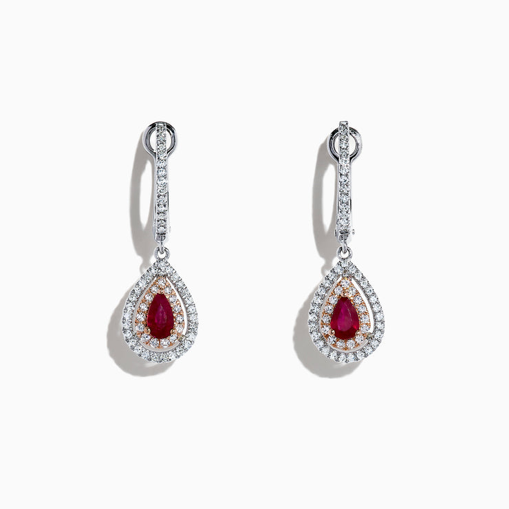Effy Ruby Royale 14K Two Tone Gold Ruby and Diamond Pear Shaped Drop Earrings, 0.87 TCW