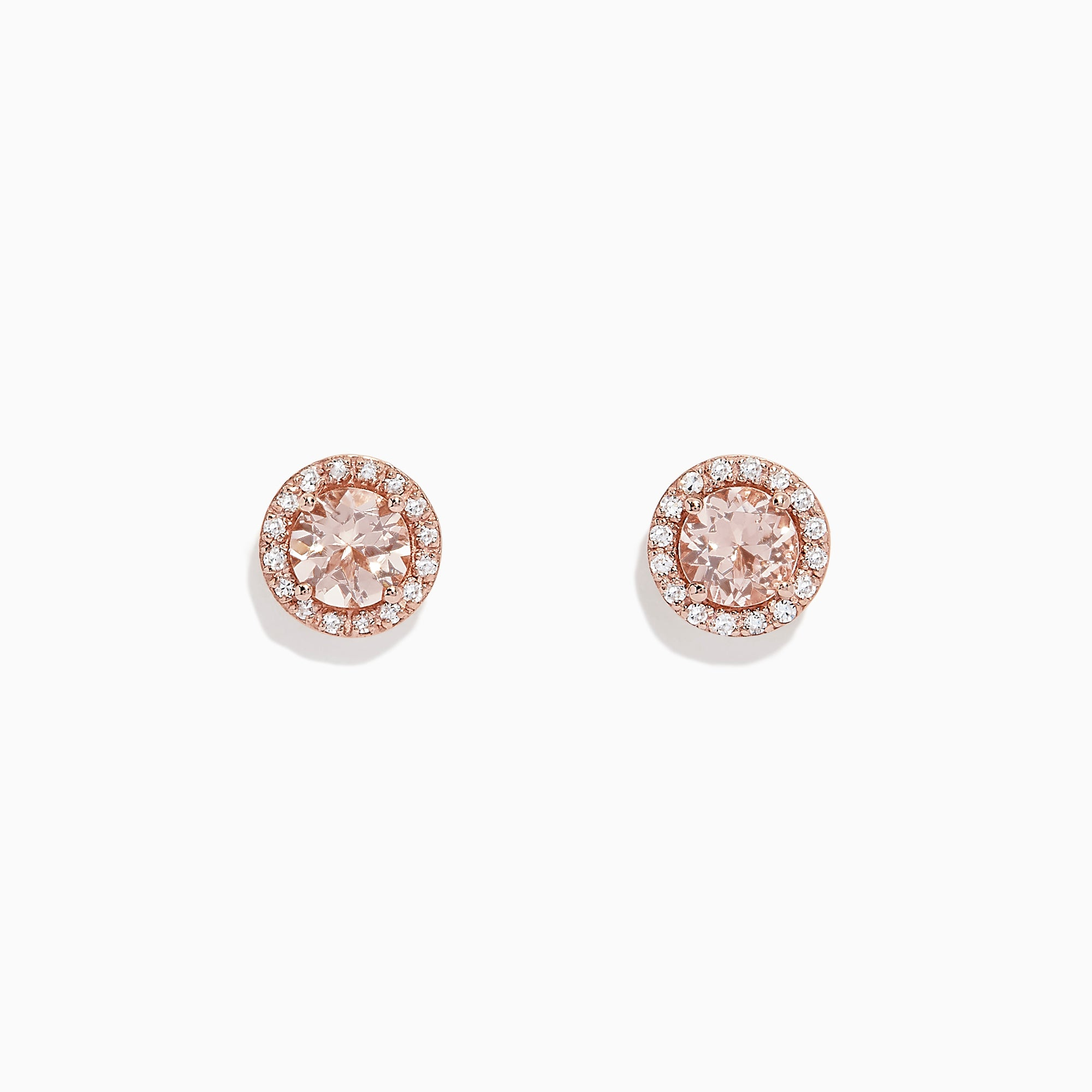 Effy Blush 14K Rose Gold Morganite and Diamond Stud Earrings, 1.82