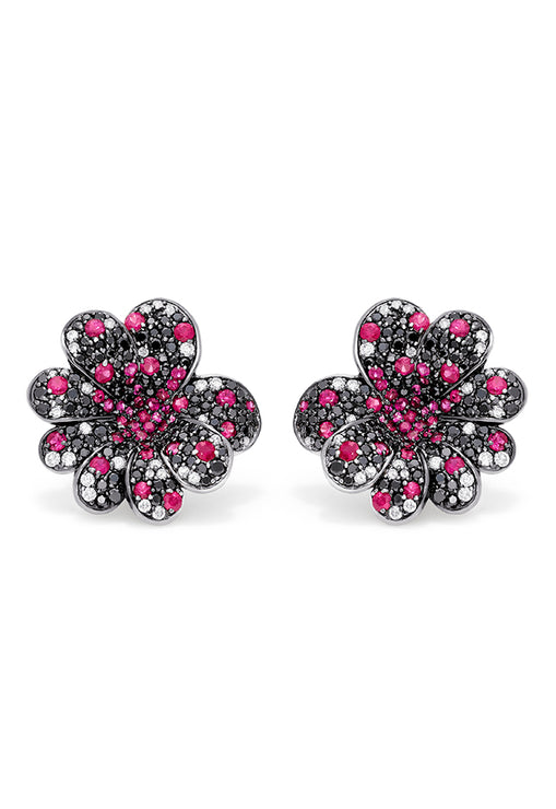 Effy 14K White Gold Ruby, Black & White Diamond Flower Earrings, 3.97 TCW