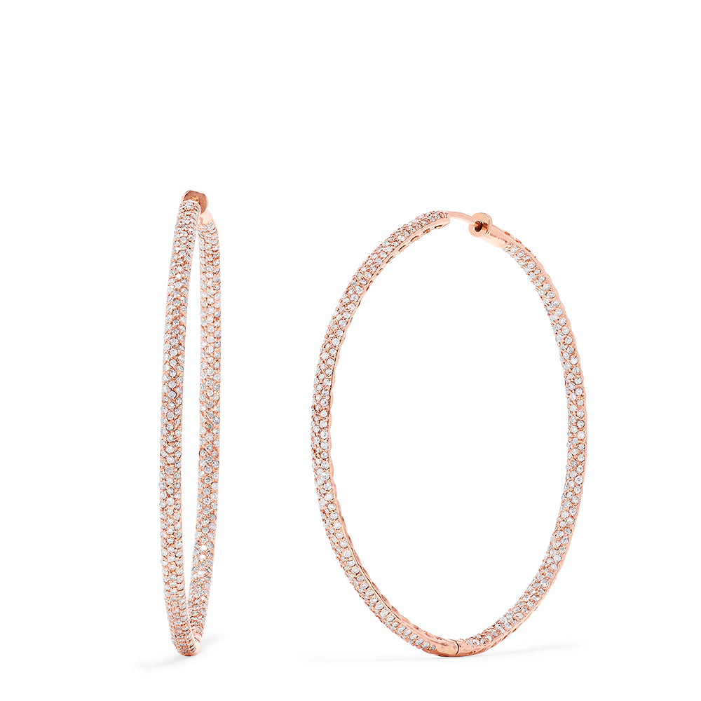 "Effy 14K Rose Gold 2"" Diamond Hoop Earrings, 1.91 TCW"