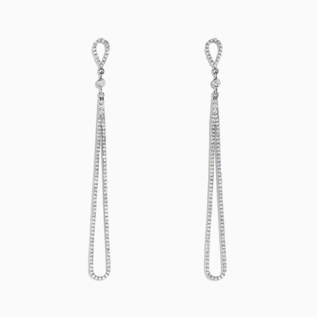 Effy Pave Classica 14K White Gold Diamond Drop Earrings, 0.98 TCW
