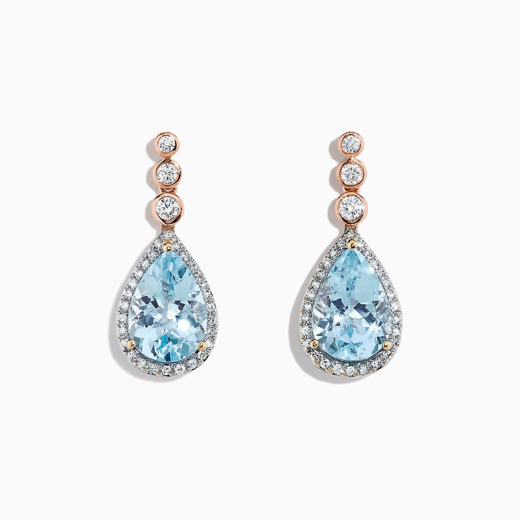 9873de3a3 Effy 14K 2-Tone Gold Aquamarine and Diamond Drop Earrings, 3.75 TCW