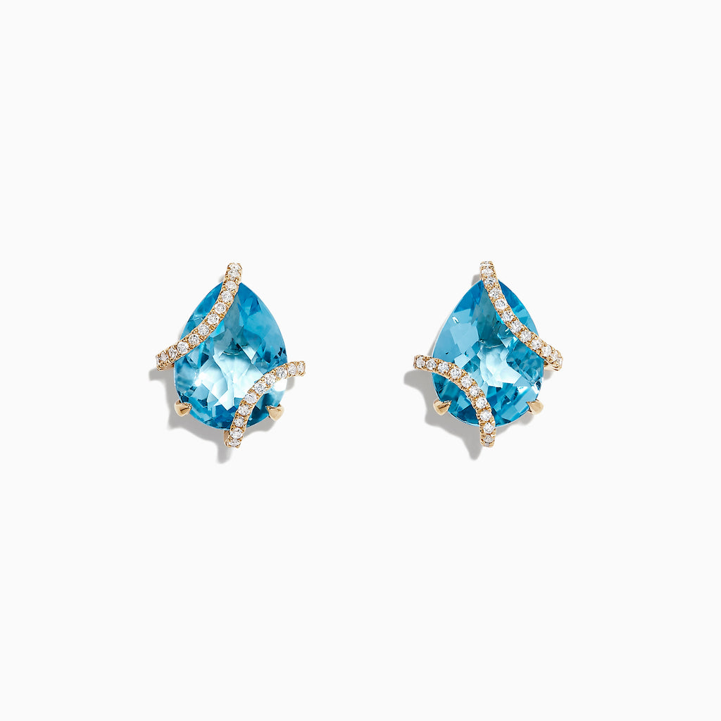 Effy Ocean Bleu 14K Yellow Gold Blue Topaz and Diamond Earrings, 9.70 TCW