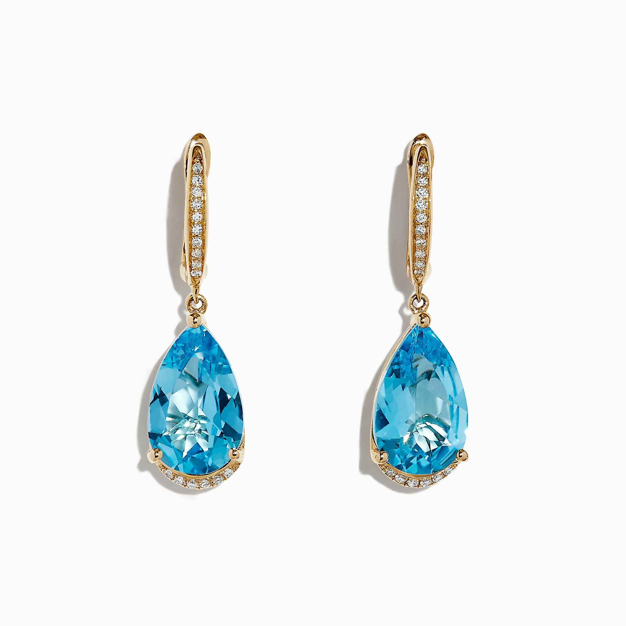 Effy Ocean Bleu 14K Gold Blue Topaz and Diamond Drop Earrings, 15.42 TCW