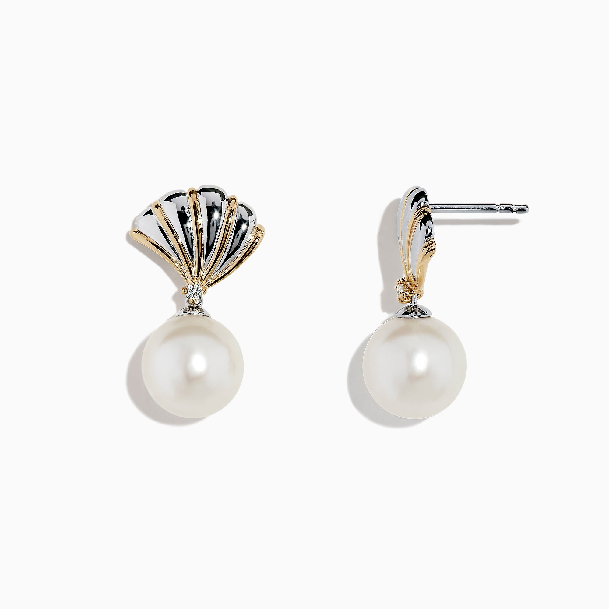 Effy Sterling Silver & 14K Gold Pearl and Diamond Shell Earrings, 0.04 TCW