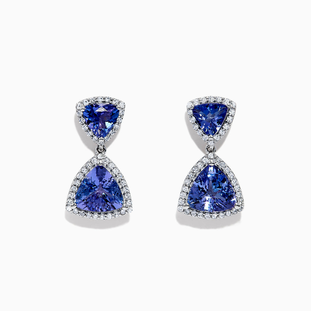 Effy Tanzanite Royale 14K White Gold Tanzanite & Diamond Earrings, 3.97 TCW
