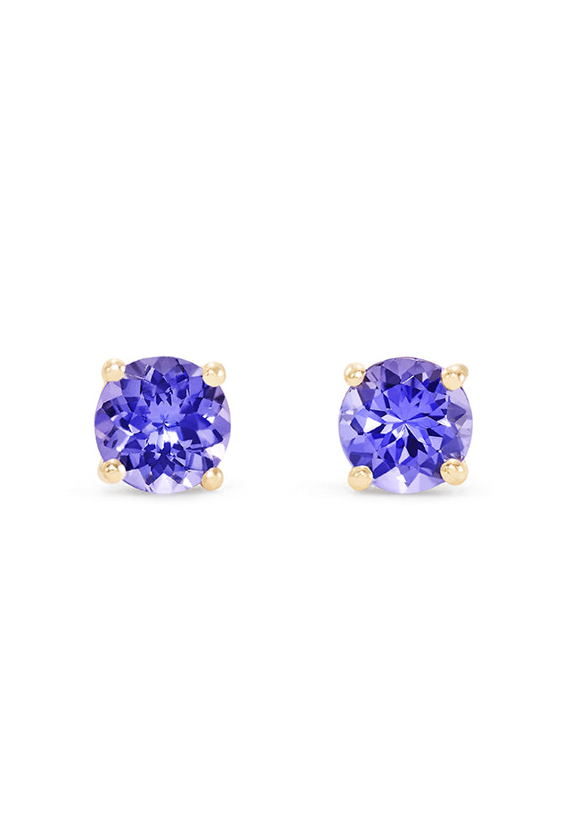 Effy 14K Yellow Gold Round Tanzanite Stud Earrings, 0.65 TCW