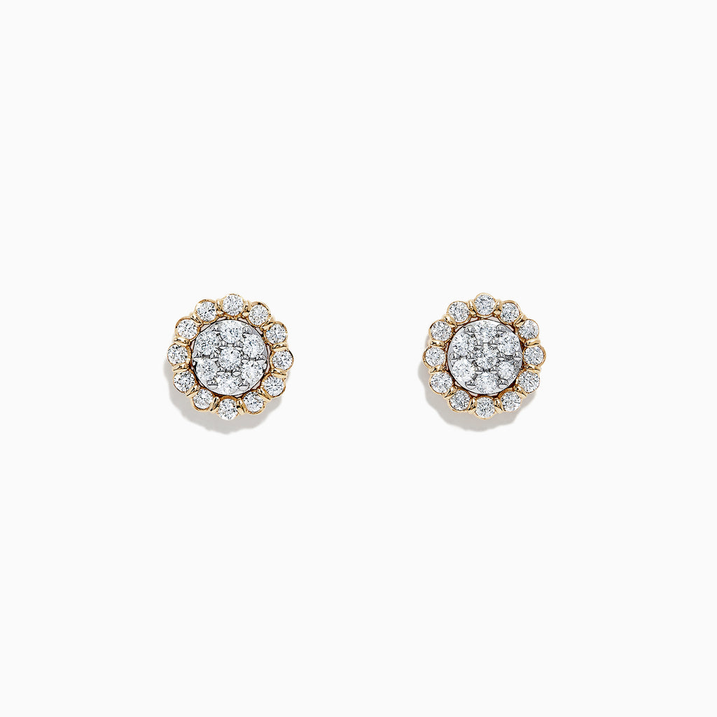 Effy D'Oro 14K Yellow Gold Diamond Stud Earrings, 0.63 TCW