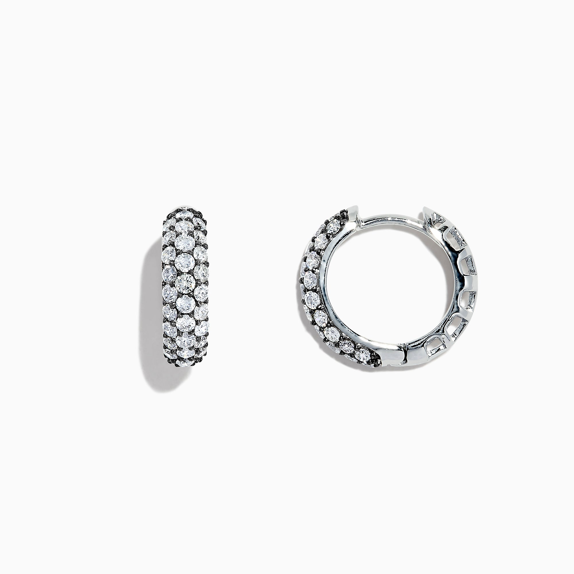 Effy 14K White Gold Diamond Huggie Hoop Earrings, 1.00 TCW
