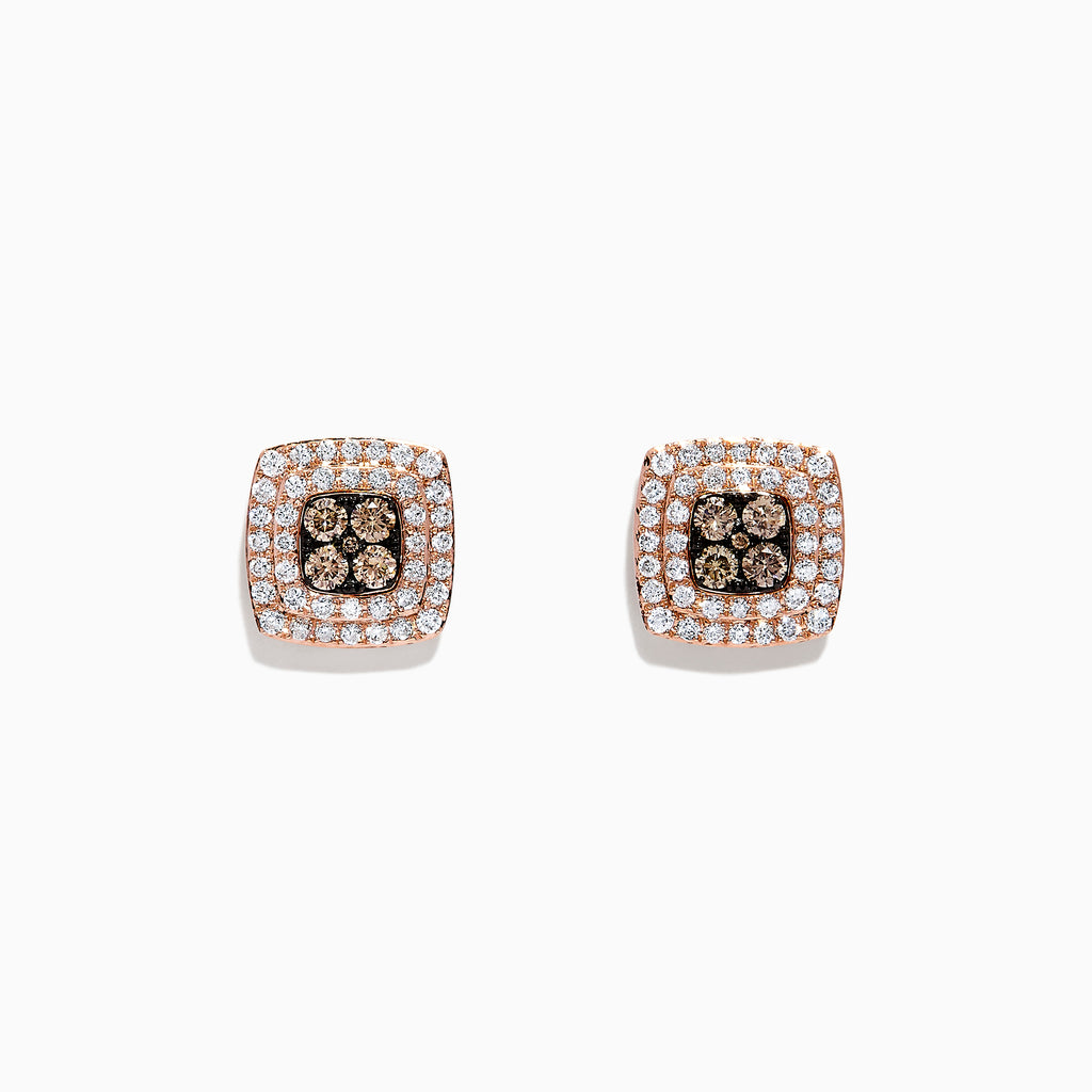 Effy 14K Rose Gold Espresso and White Diamond Earrings, 0.81 TCW