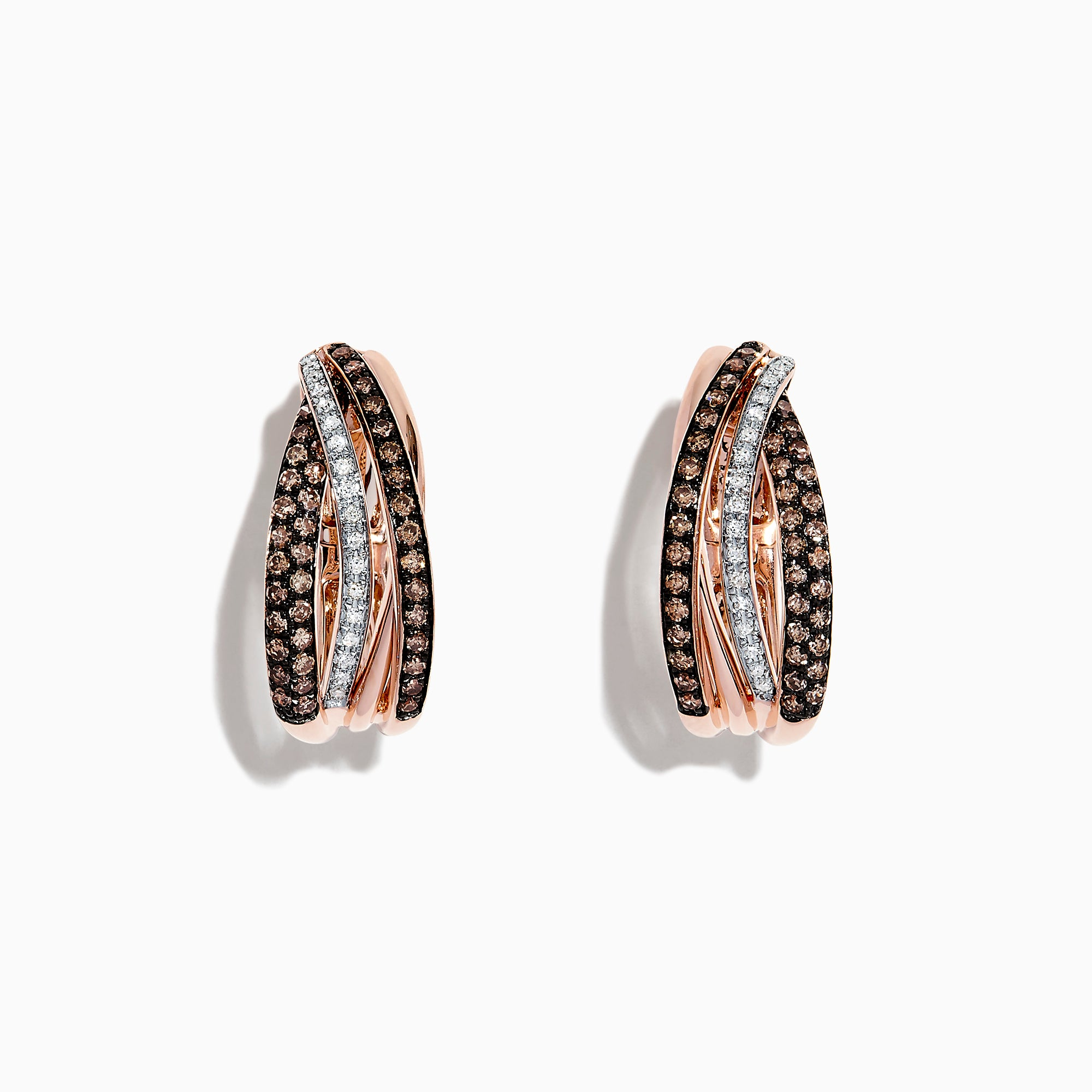 Effy 14K Rose Gold Espresso and White Diamond Mini Hoop Earrings, 0.71 TCW