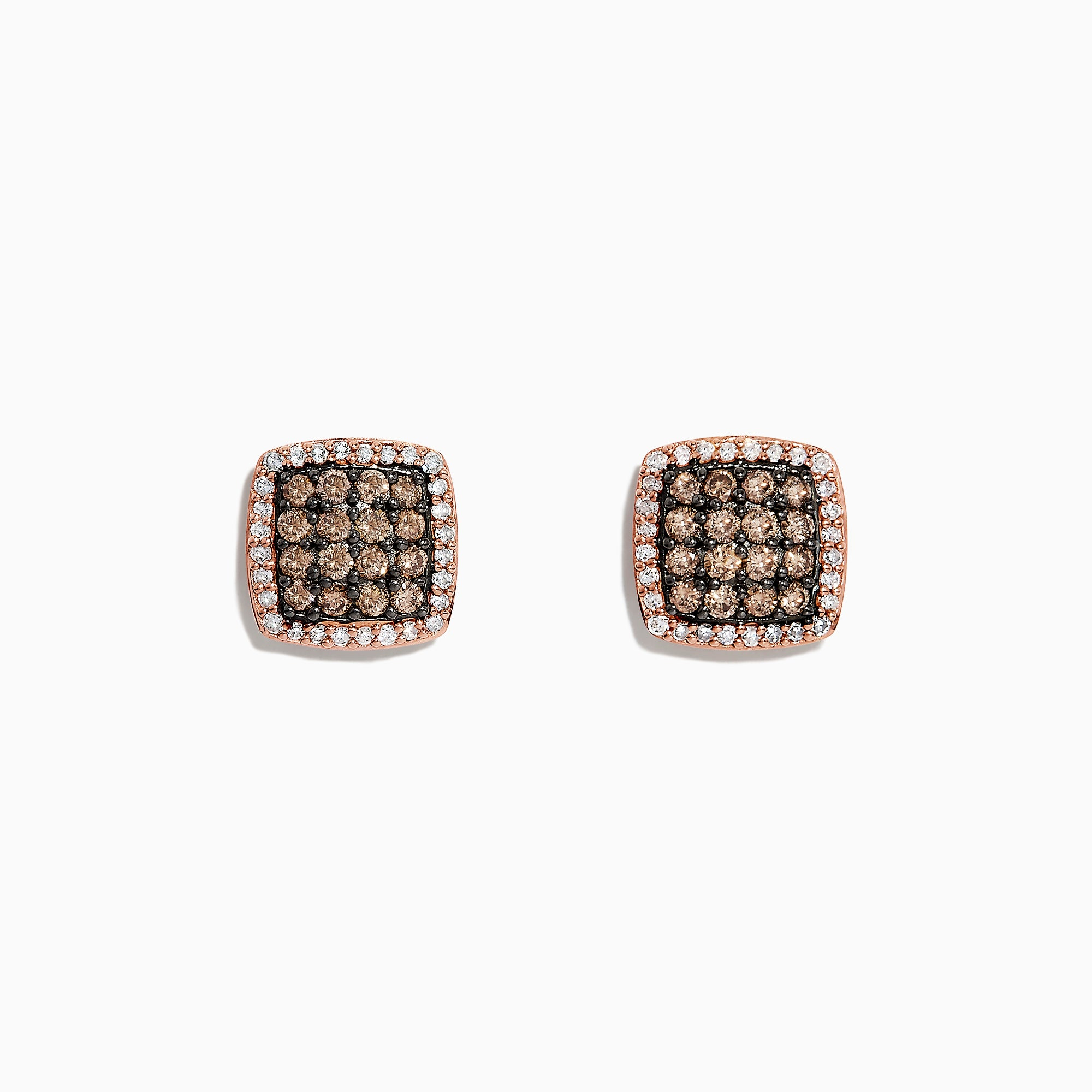 Effy 14K Rose Gold Espresso and White Diamond Stud Earrings, 0.71 TCW