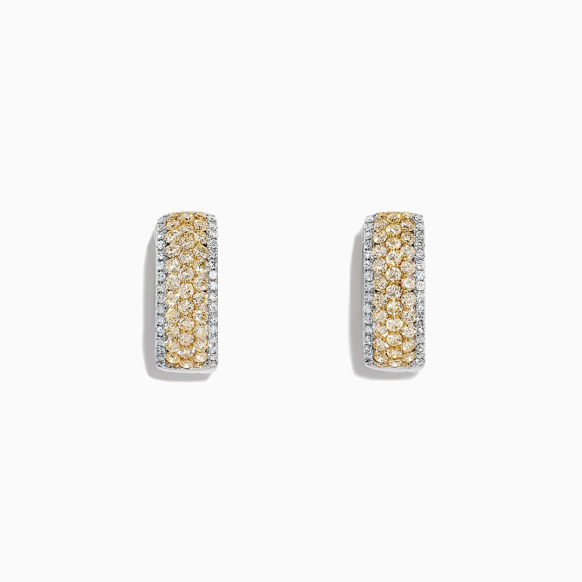 Effy Canare 14K Gold Yellow & White Diamond Huggie Hoop Earrings, 1.26 TCW