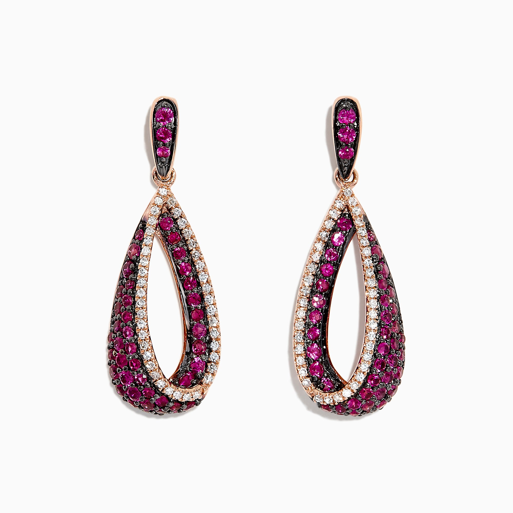 Effy 14K Rose Gold Ruby and Diamond Drop Earrings, 1.37 TCW