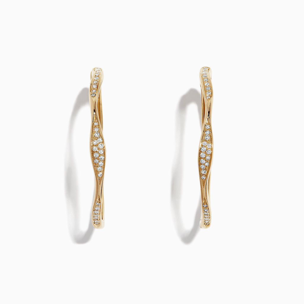 Effy D'Oro 14K Yellow Gold Diamond Wave Hoop Earrings, 0.25 TCW
