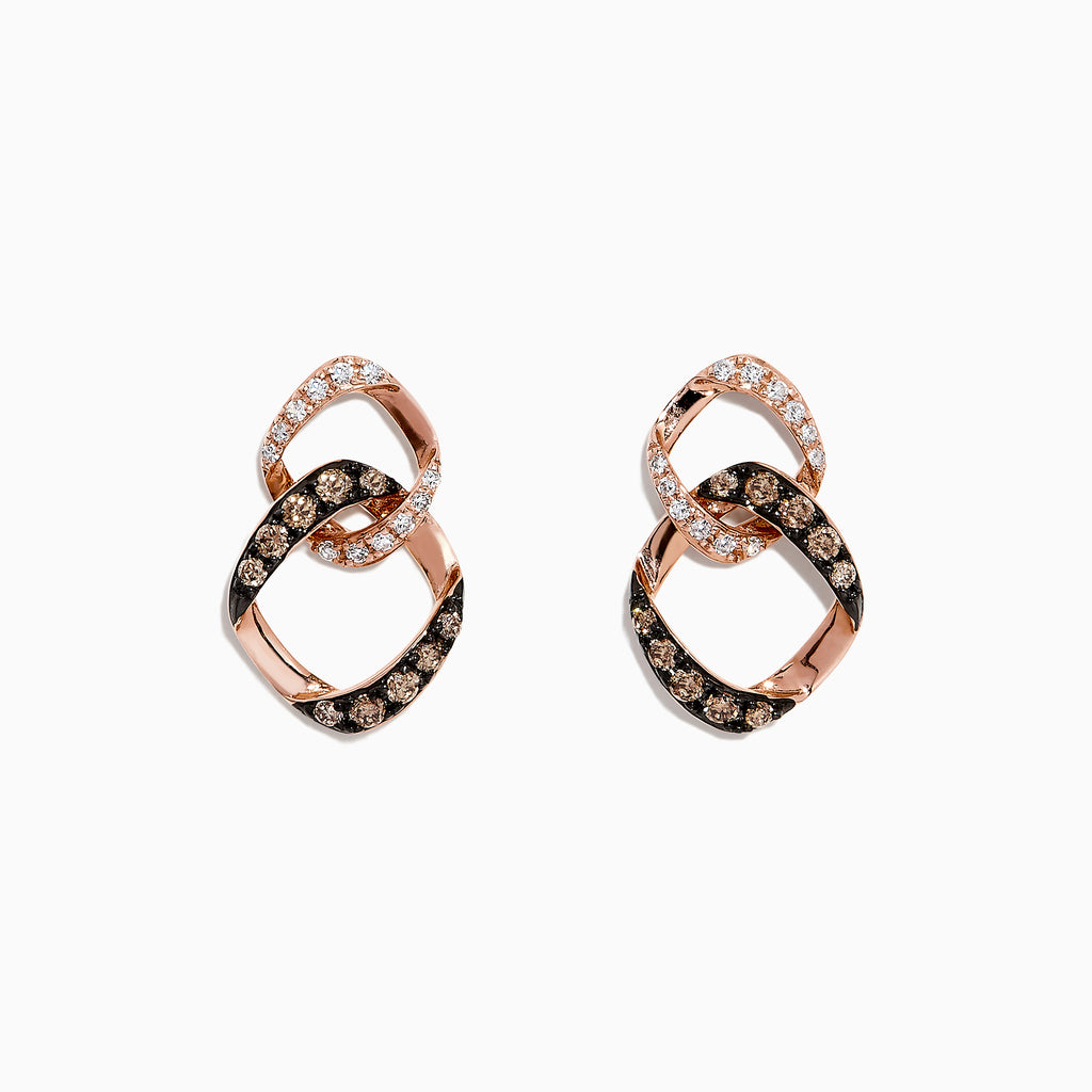 Effy 14K Rose Gold Espresso and White Diamond Earrings, 0.35 TCW