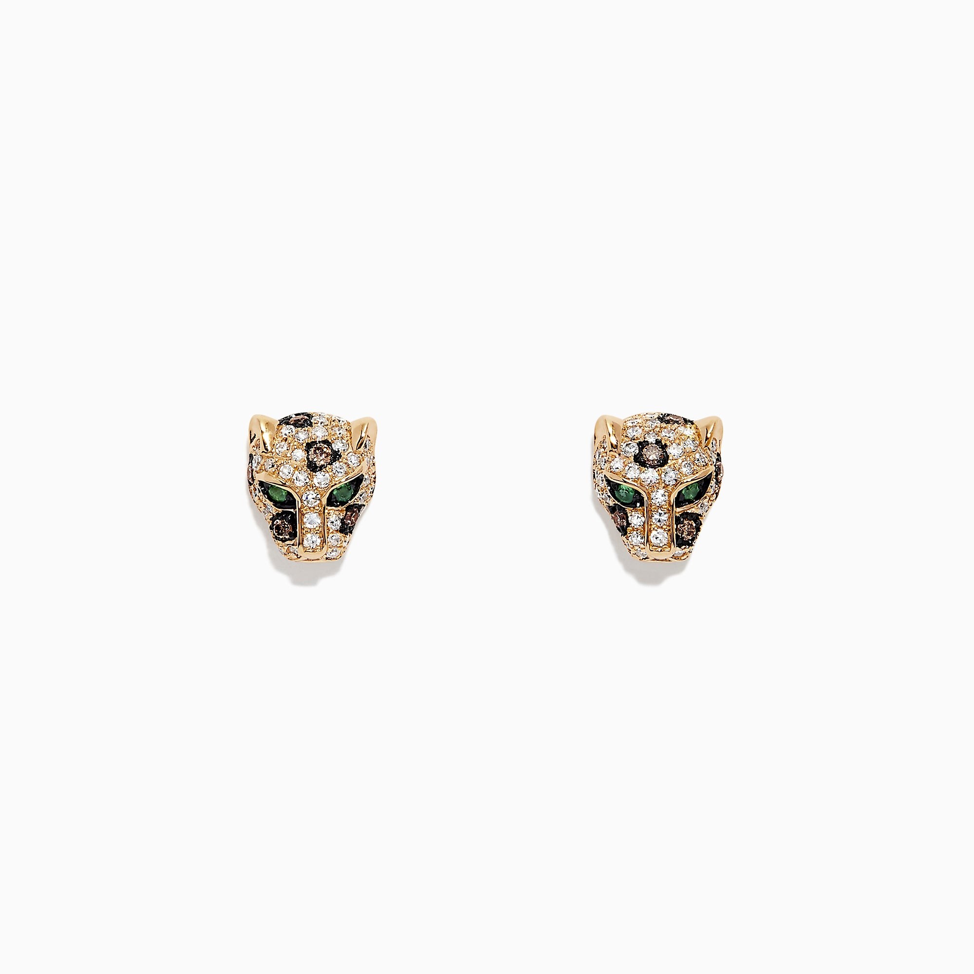 Effy Signature 14K Yellow Gold Diamond Panther Stud Earrings, 0.37 TCW