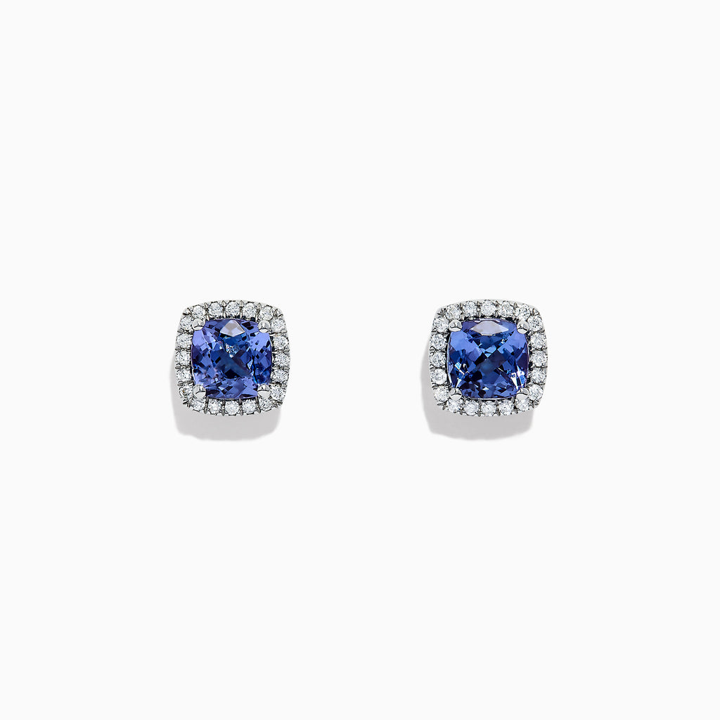Effy Sterling Silver Tanzanite and Diamond Earrings, 2.06 TCW