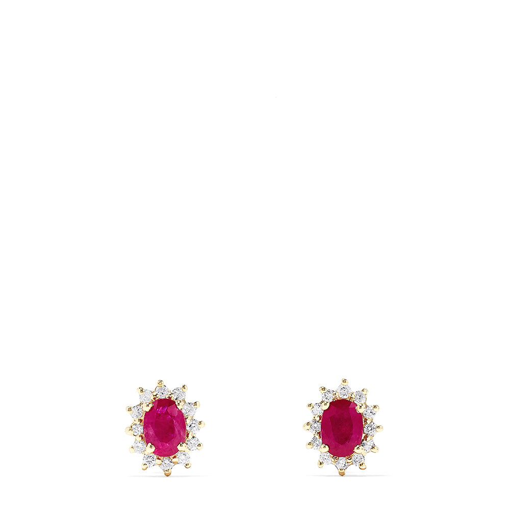Effy Ruby Royale 14K Yellow Gold Ruby and Diamond Stud Earrings, 2.37 TCW