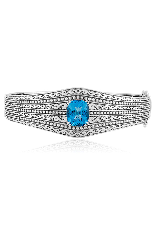 Effy 925 Sterling Silver Blue Topaz Bangle, 6.65 TCW