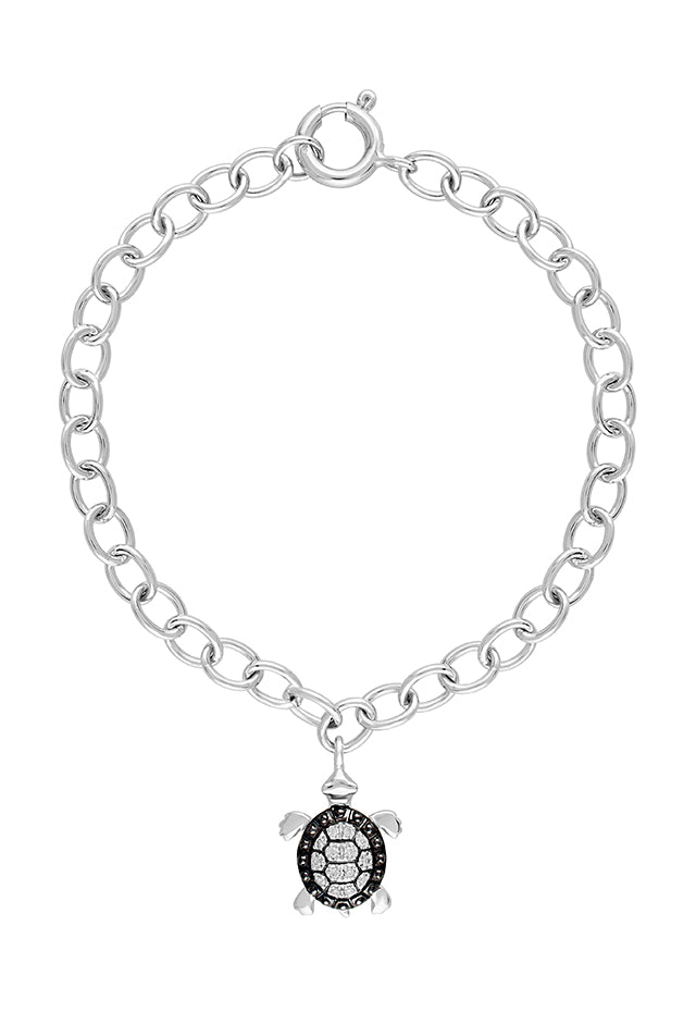 Effy Seaside Sterling Silver Diamond Turtle Bracelet, 0.07 TCW