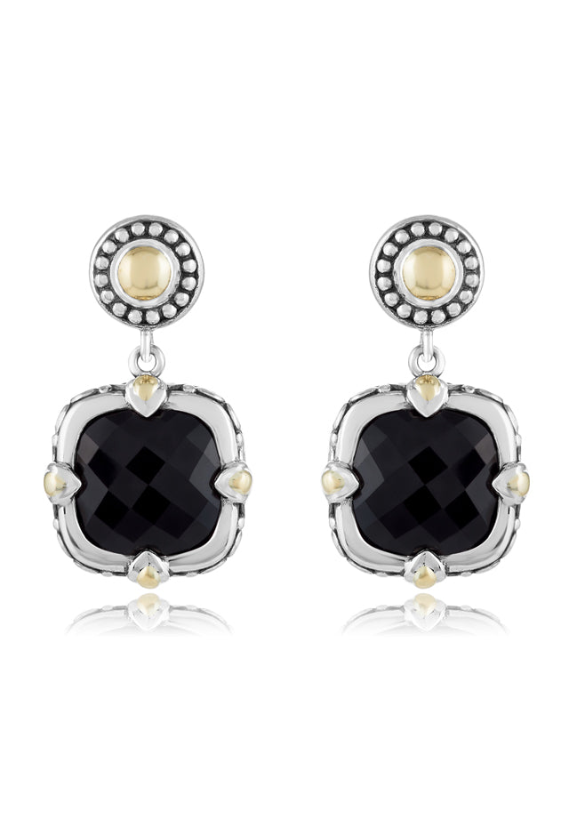 Effy 925 Sterling Silver & 18K Yellow Gold Accented Onyx Earrings, 9.90 TCW