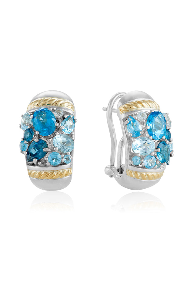 Effy 925 Sterling Silver & 18K Gold Blue Topaz Splash Earrings, 6.00 TCW