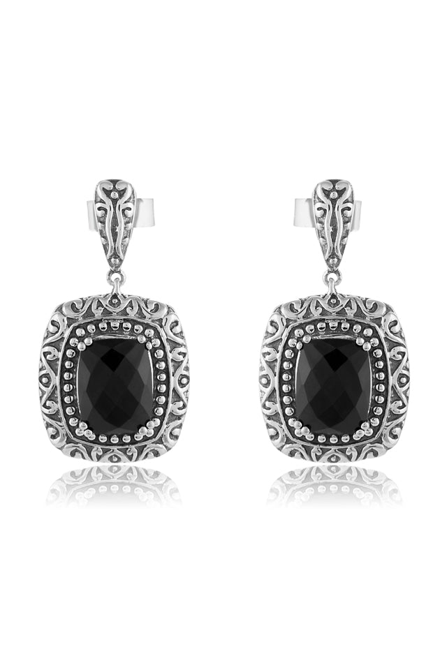Effy 925 Sterling Silver Onyx Earrings, 6.80 TCW