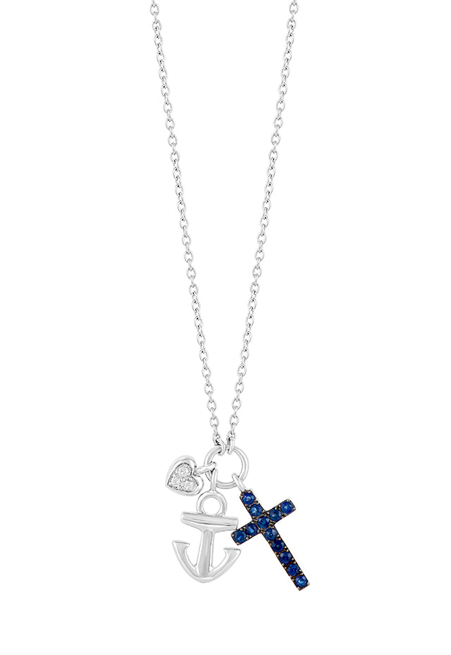Effy Novelty Sterling Silver Blue Sapphire Mix Charm Pendant, 0.45 TCW