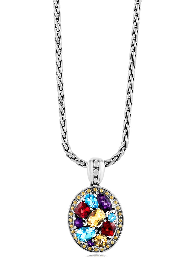 Effy 925 Sterling Silver & 18K Yellow Gold Multi Gemstone Pendant, 4.42 TCW