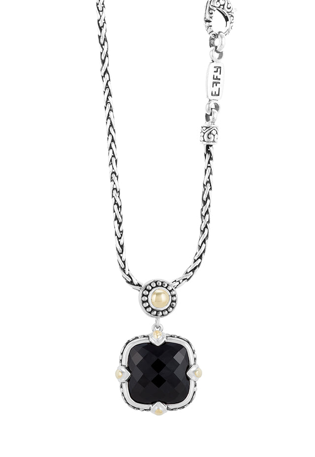 Effy 925 Sterling Silver & 18K Yellow Gold Accented Onyx Pendant, 13.90 TCW
