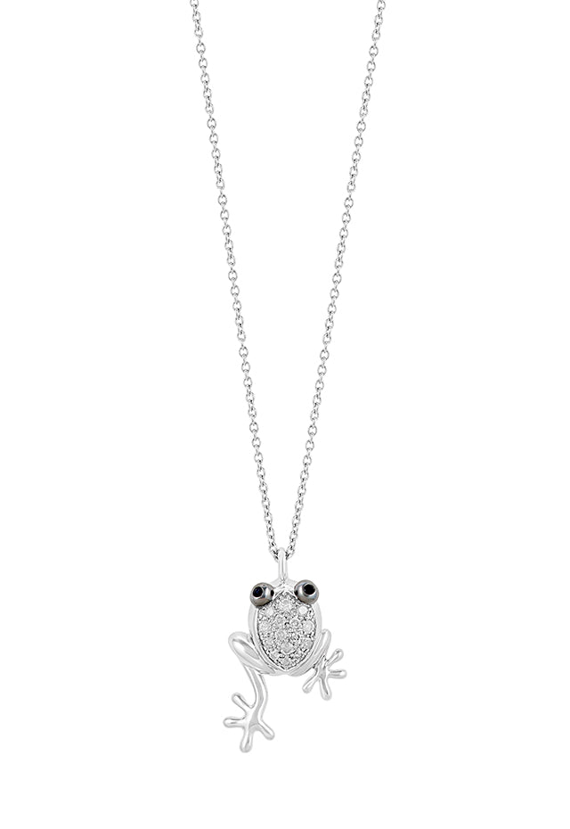 Effy Novelty Sterling Silver Diamond and Blue Sapphire Frog Pendant, 0.18 TCW