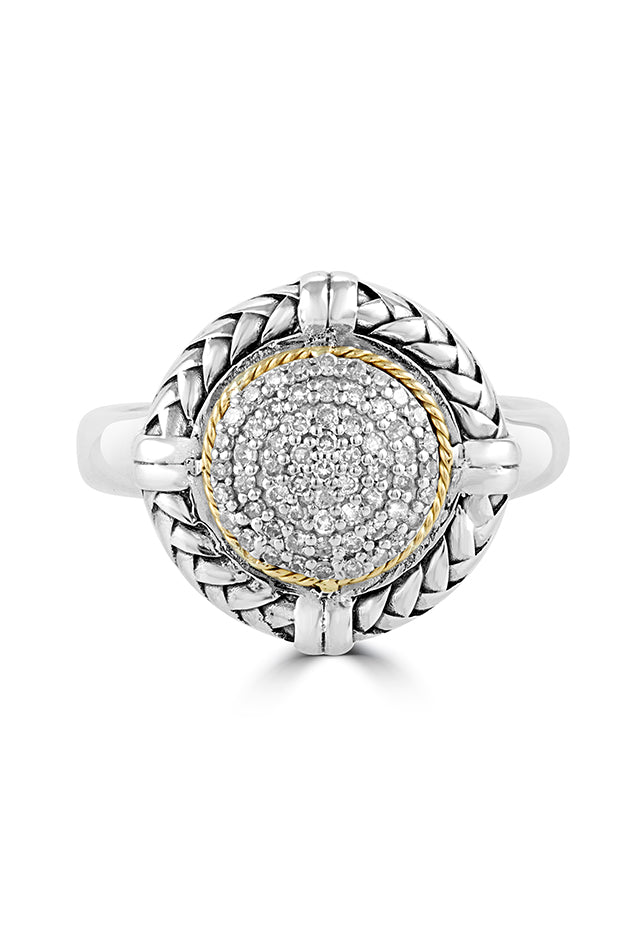 Effy 925 Sterling Silver and 18K Yellow Gold Diamond Ring, 0.27 TCW