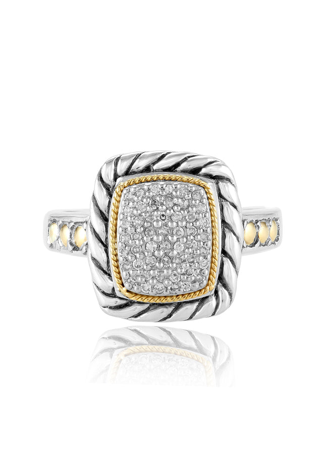 Effy 925 Sterling Silver & 18K Yellow Gold Accented Diamond Ring, 0.20 TCW