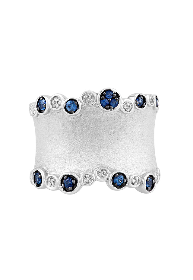 Effy 925 Sterling Silver Blue Sapphire and Diamond Ring, 0.38 TCW