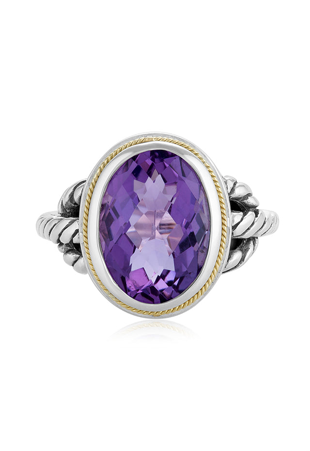 Effy 925 Sterling Silver and 18K Gold Accented Amethyst Ring, 5.23 TCW