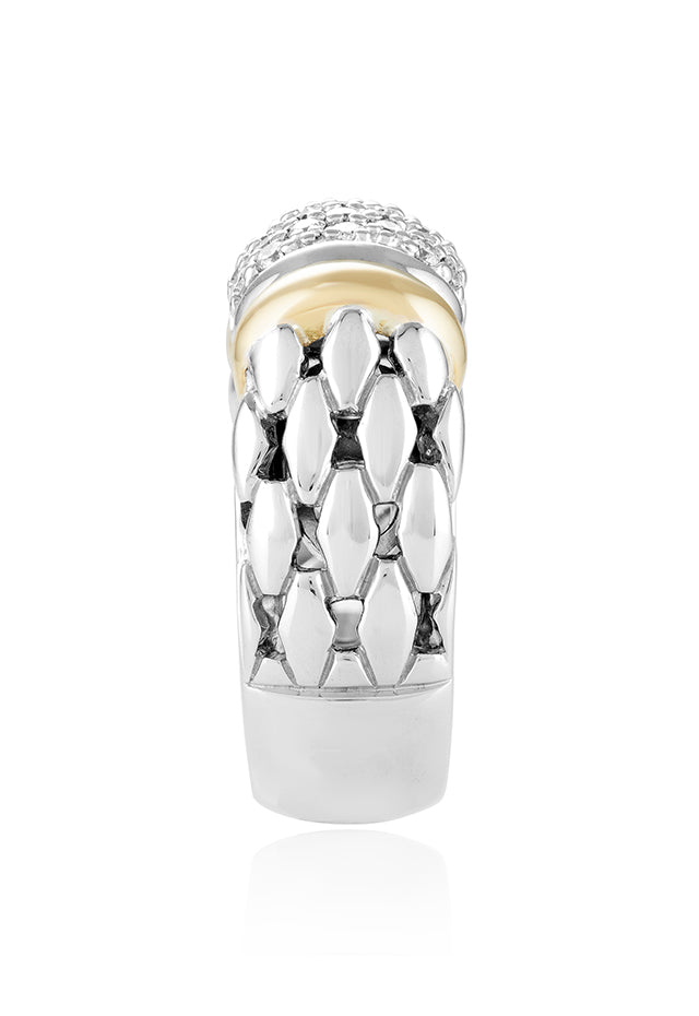 Effy 925 Sterling Silver & 18K Yellow Gold Accented Diamond Ring, 0.53 TCW