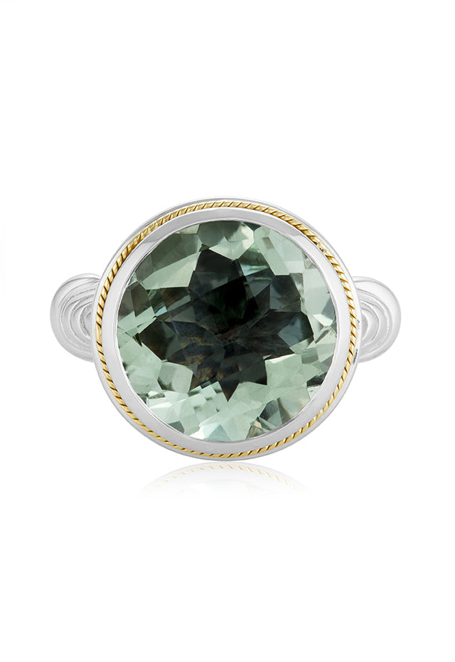 Effy 925 Sterling Silver & 18K Gold Accented Green Amethyst Ring, 11.10 TCW