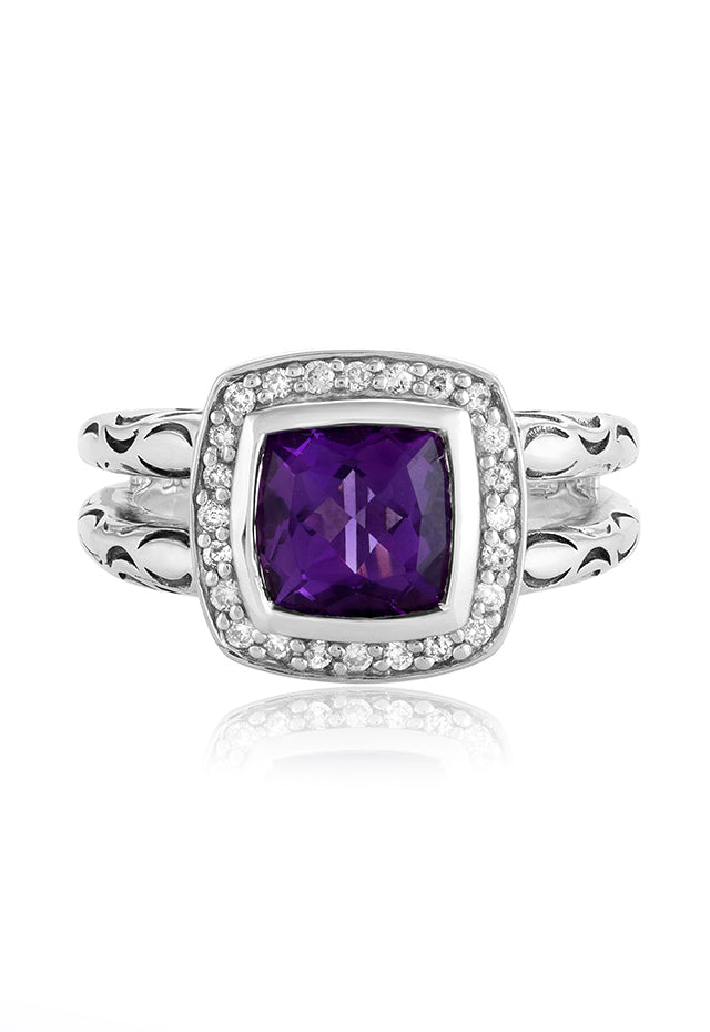 Effy 925 Sterling Silver Amethyst and Diamond Ring, 1.80 TCW