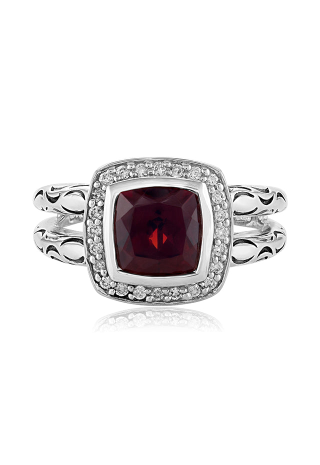 Effy 925 Sterling Silver Garnet and Diamond Ring, 3.03 TCW