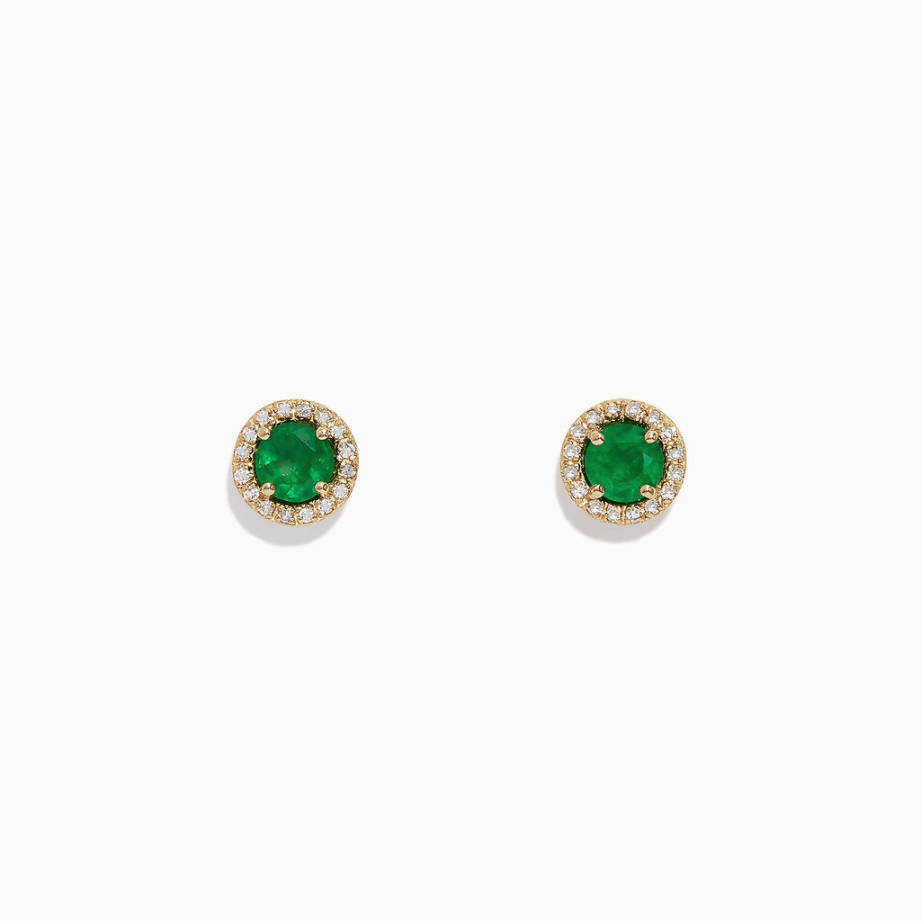 Effy Brasilica 14K Yellow Gold Emerald and Diamond Stud Earrings, 1.08 TCW